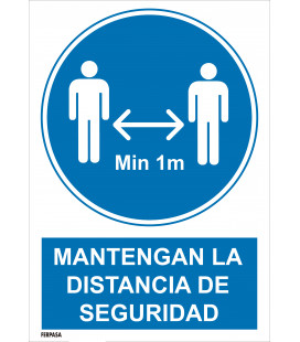 Cartel Distancia seguridad 1m