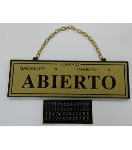 """PICTOGRAMA """"ABIERTO-CERRADO CON HORARIO"""""""